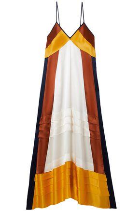 TORY BURCH カラーブロック シルクサテン ミディスリップドレス