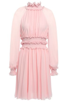 GIAMBATTISTA VALLI Ruffle-trimmed gathered silk-georgette mini dress