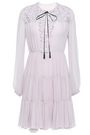 GIAMBATTISTA VALLI Lace-paneled gathered cotton-blend georgette mini dress