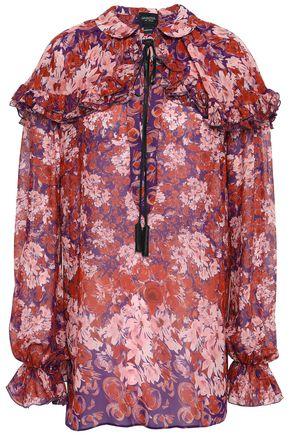 GIAMBATTISTA VALLI Tasseled floral-print silk-georgette blouse