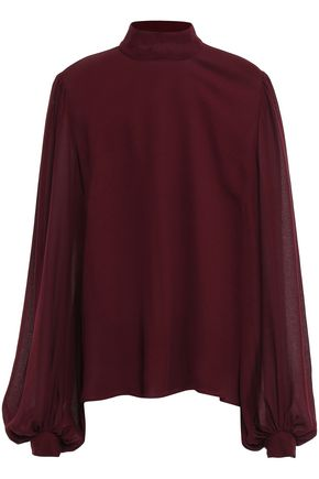 GIAMBATTISTA VALLI Gathered georgette turtleneck blouse