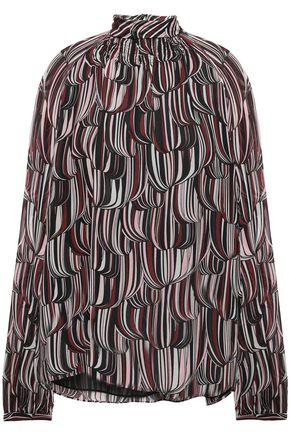 GIAMBATTISTA VALLI Shirred printed silk-voile blouse