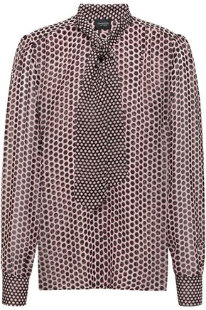 GIAMBATTISTA VALLI Tie-neck polka-dot silk-georgette blouse