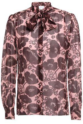 GIAMBATTISTA VALLI Pussy-bow floral-print silk-chiffon blouse