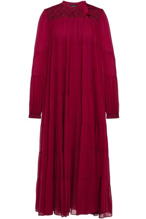 GIAMBATTISTA VALLI Guipure lace-paneled gathered silk-chiffon midi dress