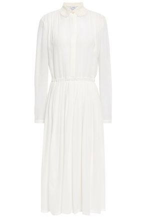 GIAMBATTISTA VALLI Guipure lace-trimmed crepe midi shirt dress