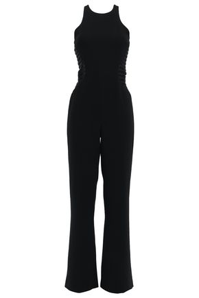HALSTON HERITAGE Tulle and satin-trimmed crepe wide-leg jumpsuit