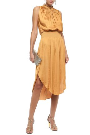 Halston Heritage Woman Shirred Gathered Satin Dress Mustard