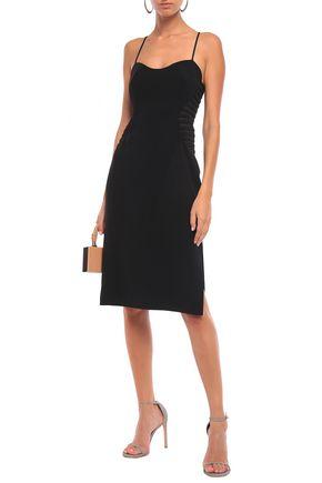 Halston Heritage Woman Mesh-Paneled Crepe Dress Black