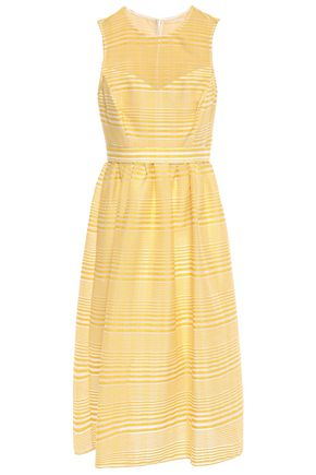 HALSTON HERITAGE Gathered striped organza-jacquard midi dress