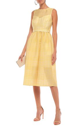 Halston Heritage Woman Gathered Striped Organza-Jacquard Midi Dress Yellow