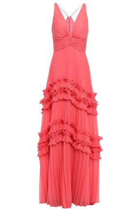 HALSTON HERITAGE Ruffle-trimmed pleated voile gown