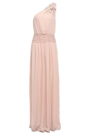 HALSTON One-shoulder appliquéd crepe gown