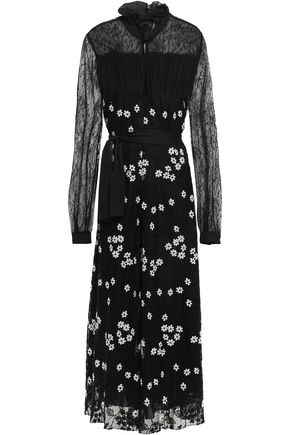 GIAMBATTISTA VALLI Ruffle-trimmed embroidered lace midi dress
