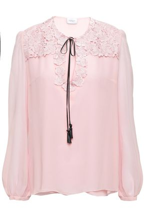GIAMBATTISTA VALLI Guipure lace-paneled silk-georgette blouse