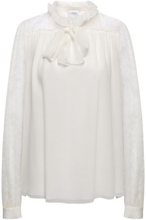 GIAMBATTISTA VALLI Pussy-bow Chantilly lace-paneled silk-georgette blouse