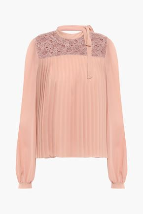 GIAMBATTISTA VALLI Pleated guipure lace and silk-georgette blouse