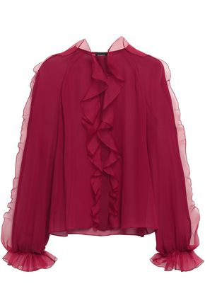 GIAMBATTISTA VALLI Ruffled paneled silk-chiffon and organza blouse
