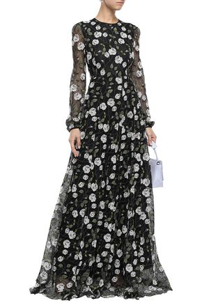 Giambattista Valli Woman Embroidered Cotton-Blend Corded Lace Gown Black