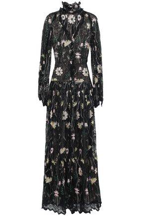 GIAMBATTISTA VALLI Pleated embroidered metallic lace gown