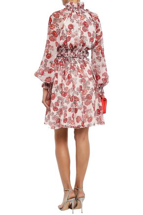GIAMBATTISTA VALLI Shirred floral-print silk crepe de chine dress