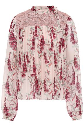 GIAMBATTISTA VALLI Guipure lace-paneled silk-chiffon blouse