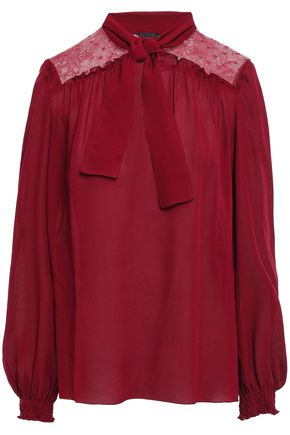 GIAMBATTISTA VALLI Pussy-bow lace-paneled crepe blouse