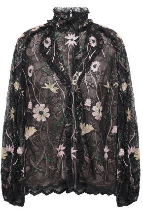 GIAMBATTISTA VALLI Ruffled embroidered lace blouse