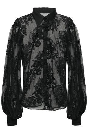 CAMILLA Noir Boudoir crystal-embellished lace shirt