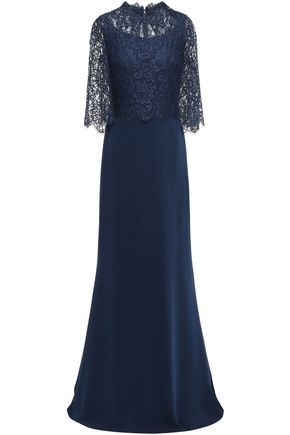 REEM ACRA Layered lace and crepe gown