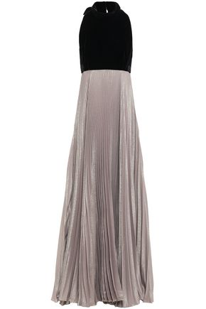 REEM ACRA Velvet and pleated iridescent crepe halterneck gown