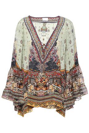 CAMILLA The Caravan printed silk crepe de chine and chiffon blouse