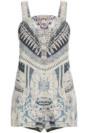 CAMILLA Tales of Batik crystal-embellished printed linen playsuit