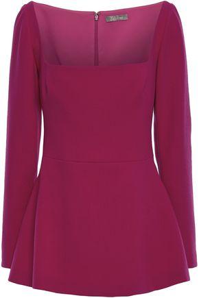 LELA ROSE Wool-blend crepe peplum blouse