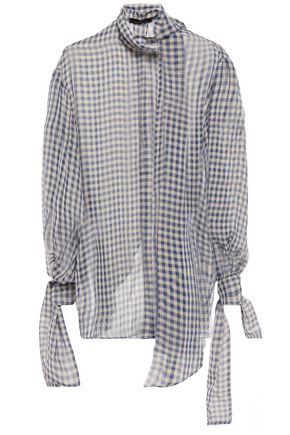 ROKH Open-back gingham chiffon blouse