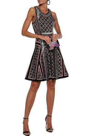 Herve Leger HervÉ LÉger Woman Kacey Cutout Embellished Jacquard-knit Dress Black
