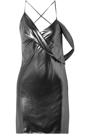 MICHELLE MASON Open-back draped lamé slip dress