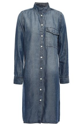 CURRENT/ELLIOTT Polka-dot denim shirt dress