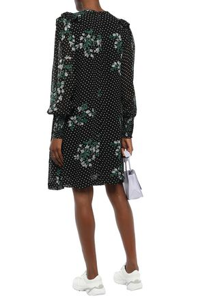 GANNI Rometty ruffled printed georgette dress
