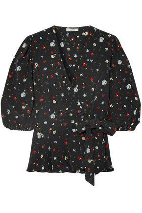 GANNI Nolana floral-print silk crepe de chine wrap top