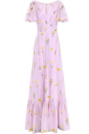LELA ROSE Cape-effect striped cotton-blend floral-jacquard gown