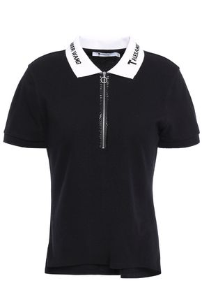 ALEXANDERWANG.T Zip-detailed printed cotton-piqué polo shirt