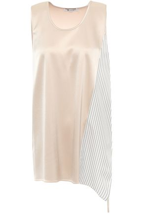 ALEXANDERWANG.T Paneled striped twill and satin top