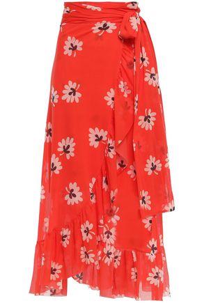 GANNI Tilden floral-print stretch-mesh midi skirt