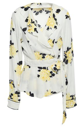 GANNI Floral-print crepe wrap top