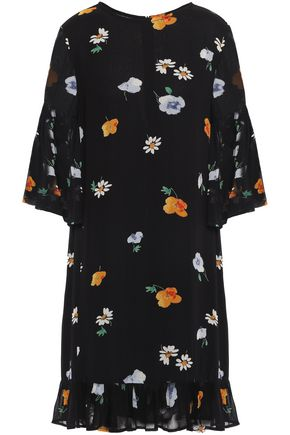 GANNI Dainty ruffled floral-print georgette dress