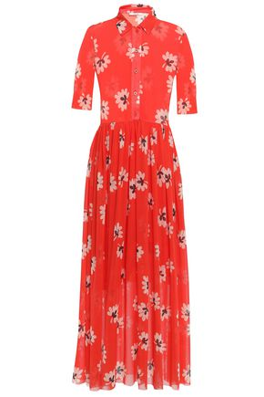 GANNI Tilden floral-print stretch-mesh maxi shirt dress