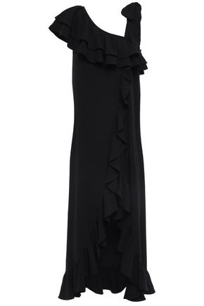 GANNI Clark bow-detailed ruffled crepe maxi dress