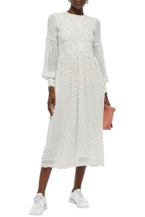 GANNI Rometty shirred polka-dot georgette midi dress