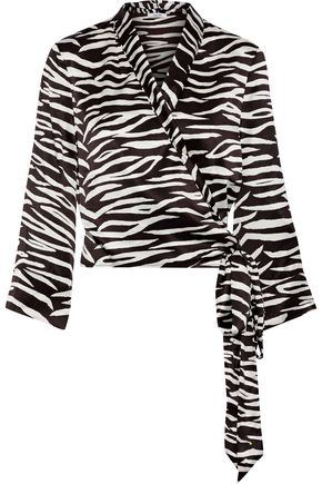 GANNI Blakely zebra-print silk-blend wrap top